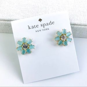 Kate spade blue fem flower earrings